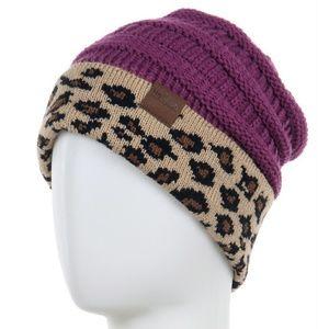 Leopard Cheetah Animal Print Trim Knit Beanie Hat